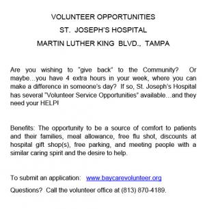St. Joseph's Hospital Volunteer Opportunities